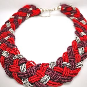 Lilac Burgundy Silver Woven bead necklace